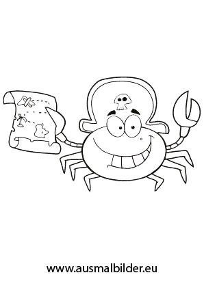 Ausmalbilder Piraten Krabbe - Piraten Malvorlagen ausmalen