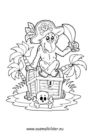Ausmalbilder Piraten Schatz - Piraten Malvorlagen ausmalen