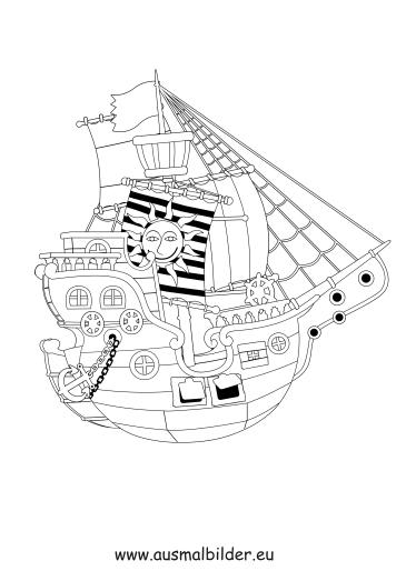 ausmalbilder piratenschiff von piraten  piraten
