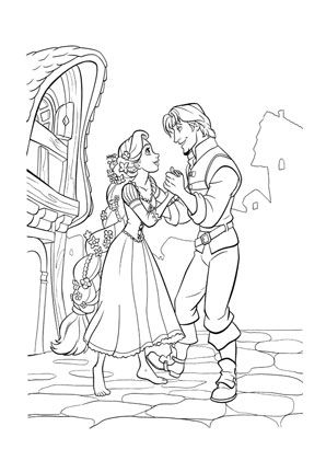 Ausmalbilder Flynn und Rapunzel