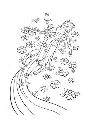 ausmalbilder rapunzel in der blumenwiese - rapunzel malvorlagen