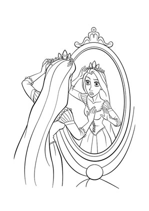 Ausmalbilder Rapunzel Vor Dem Spiegel Rapunzel Malvorlagen