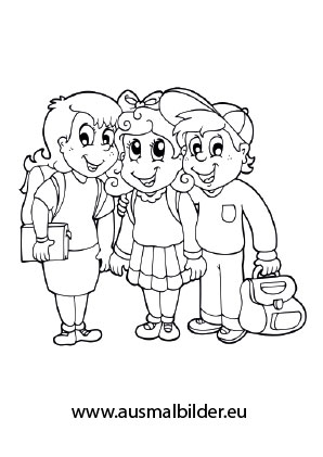 ausmalbilder kinder mit schulzeug schule malvorlagen