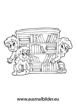 Kinder und Bücherregal als pdf ausdrucken