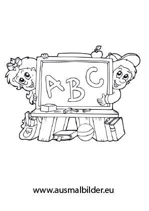 Ausmalbilder Kinder Und Schultafel Schule Malvorlagen