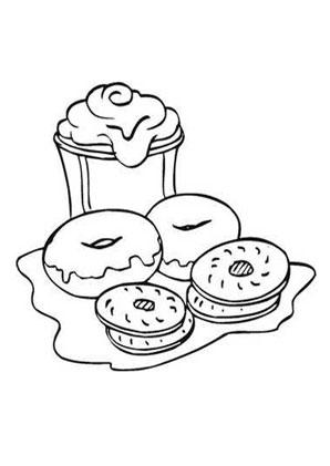 Ausmalbild Bagles und Kekse kostenlos ausdrucken