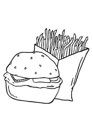 Ausmalbilder burger mit pommes - Speisen und Essen Malvorlagen ausmalen