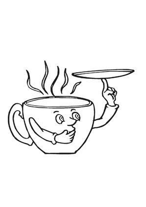 Tasse ausmalbild  Ausmalbilder cartoon tasse mit tee - Speisen und Essen Malvorlagen ...