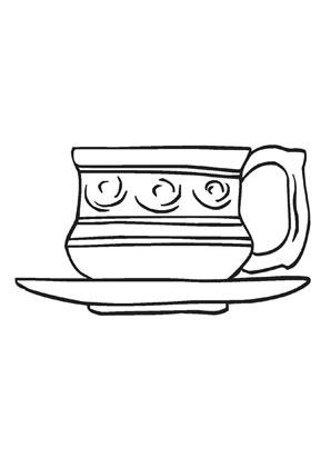 ausmalbilder edle tasse speisen und essen malvorlagen