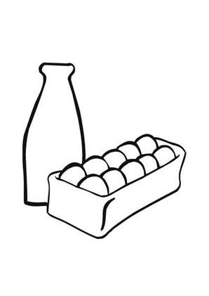 Ausmalbilder Eier und Milch - Speisen und Essen Malvorlagen ausmalen