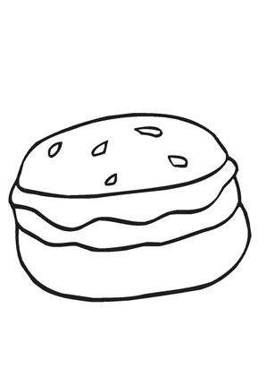 Ausmalbilder Grosser Hamburger - Speisen und Essen Malvorlagen ausmalen