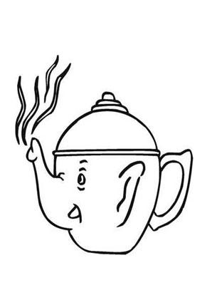Ausmalbilder Teekanne Elefant - Speisen und Essen Malvorlagen ausmalen