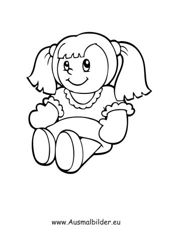 Klei Kleurplaat Ausmalbilder Puppe Mit Z 246 Pfen Spielsachen Malvorlagen