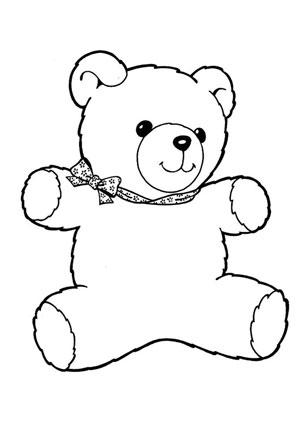 Ausmalbilder Teddybär Mit Schleife Spielsachen Malvorlagen