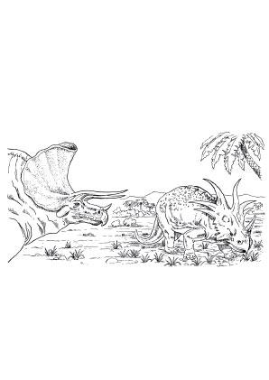 Ausmalbilder Triceratops Landschaft Dinosaurier Malvorlagen