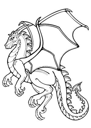 Ausmalbilder Anmutiger Drache   Drachen Malvorlagen