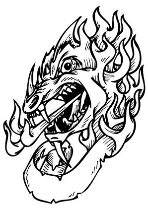 ausmalbilder blutrünstiger drachenkopf - drachen malvorlagen
