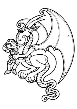 ausmalbild drache mag den ritter zum ausdrucken