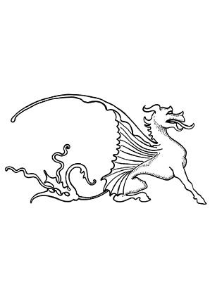 ausmalbild drache mit verrücktem schweif zum ausdrucken