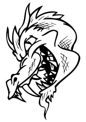 ausmalbilder fieser drachenkopf - drachen malvorlagen