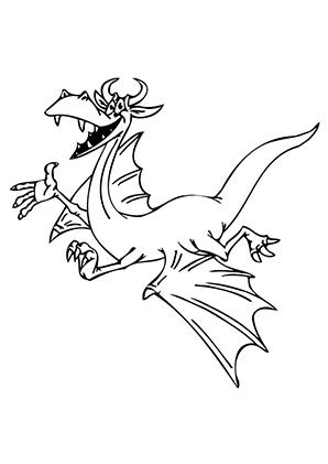 Ausmalbilder Fröhlicher fliegender Drache   Drachen Malvorlagen