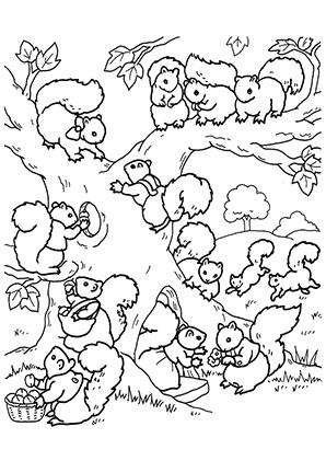 Ausmalbild Baum Mit Eichhornchenfamilie Zum Ausdrucken