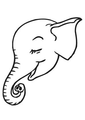 ausmalbilder elefantenbabykopf - elefanten malvorlagen