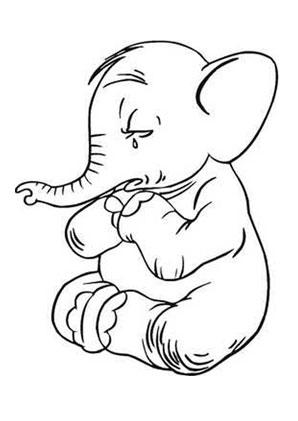 Ausmalbilder Trauriger Baby Elefant Elefanten Malvorlagen