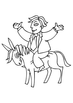 Ausmalbilder Mann auf Esel - Esel Malvorlagen