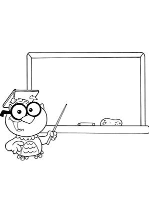 Ausmalbilder Lehrer Eule An Der Tafel Eulen Malvorlagen