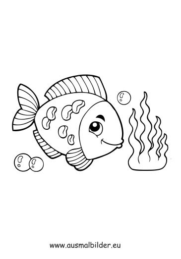 Ausmalbilder Fisch unter Wasser - Fische Malvorlagen