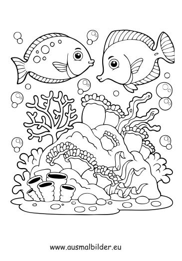 ausmalbilder fische im wasser - fische malvorlagen