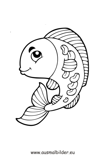 ausmalbilder gebogener fisch - fische malvorlagen