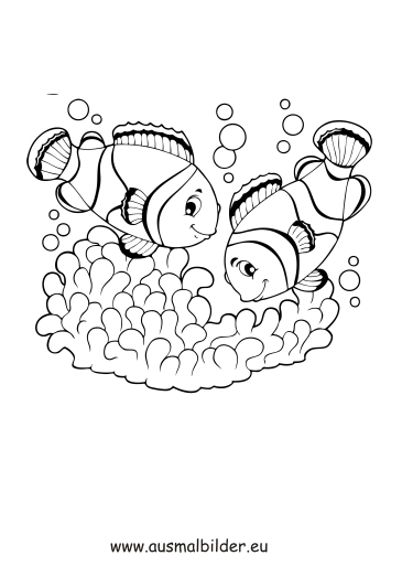 ausmalbilder zwei fische  fische malvorlagen