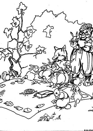 ausmalbilder fuchs beim picknicken - füchse malvorlagen