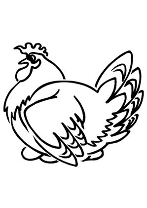Ausmalbilder Henne beim Brüten - Hühner Malvorlagen