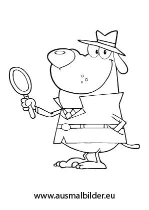 ausmalbilder detektiv hund - hunde malvorlagen