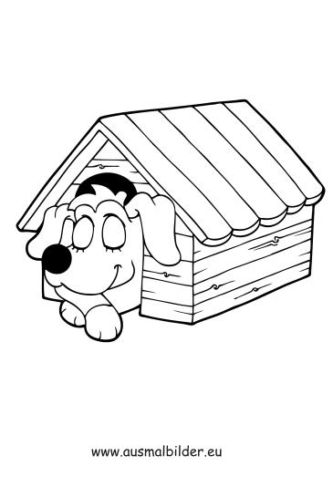 ausmalbild hund in hundehütte zum ausdrucken