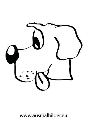 Ausmalbilder Hundekopf Seitenansicht - Hunde Malvorlagen