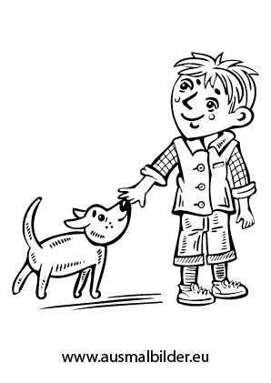 Ausmalbilder Kind Und Hund Spielen Hunde Malvorlagen