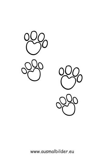 ausmalbilder pfotenabdrücke - hunde malvorlagen