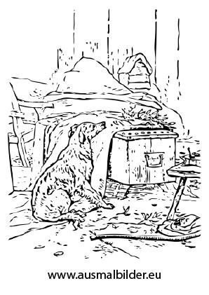 ausmalbilder wartender hund - hunde malvorlagen