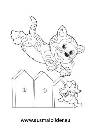 Ausmalbilder Katze Fängt Eine Maus Katzen Malvorlagen