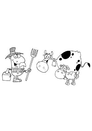 Ausmalbilder Bauer und eine Kuh - Kühe Malvorlagen