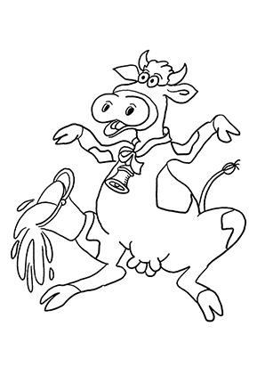 ausmalbild kuh verschüttet milcheimer kostenlos ausdrucken