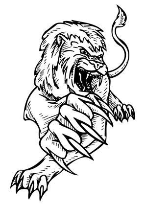ausmalbild angreifender löwe zum ausdrucken