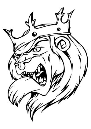 ausmalbilder fieser löwenkönig - löwen malvorlagen