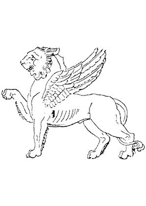 ausmalbilder löwe mit flügel - löwen malvorlagen