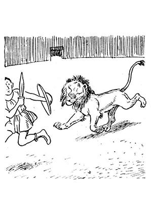 ausmalbilder löwe und gladiator - löwen malvorlagen