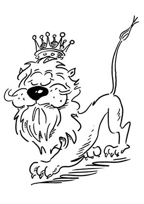 ausmalbilder stolzer löwenkönig - löwen malvorlagen